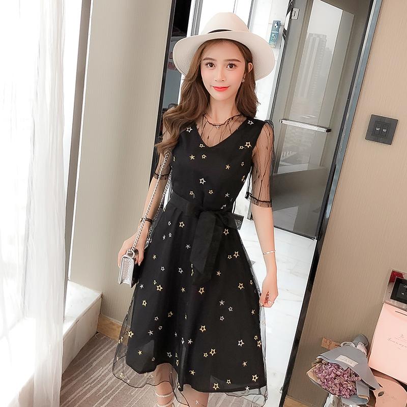 韓版黑色星星刺繡短袖修身顯瘦連衣裙女夏學生a字裙網紗仙女裙