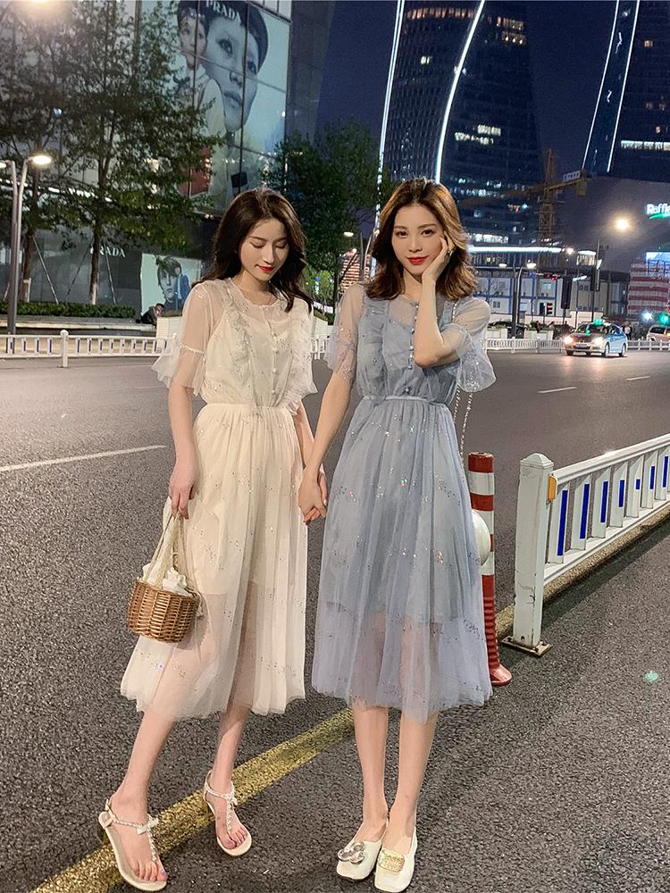 2019夏裝新款 法國小眾復古超仙中長款網紗孕婦連衣裙短袖長裙子