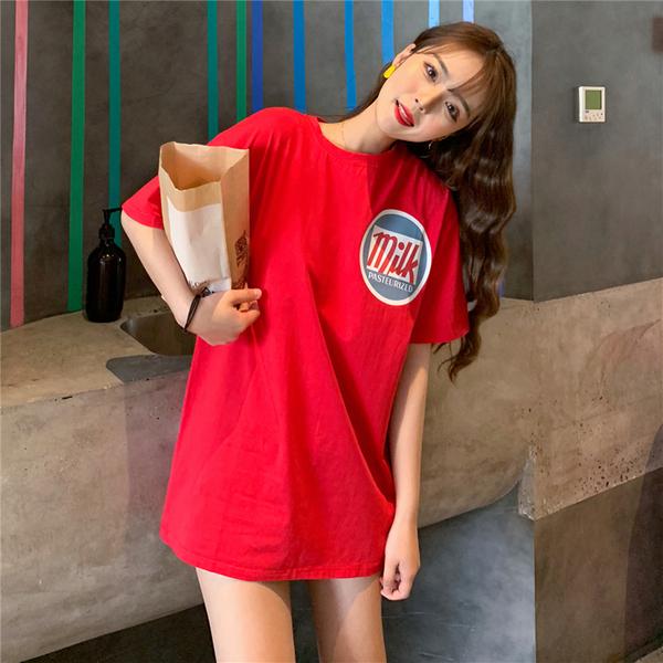 实拍 纯棉韩版字母短袖T恤女半袖上 40s精棉拉架中长宽松学生印花