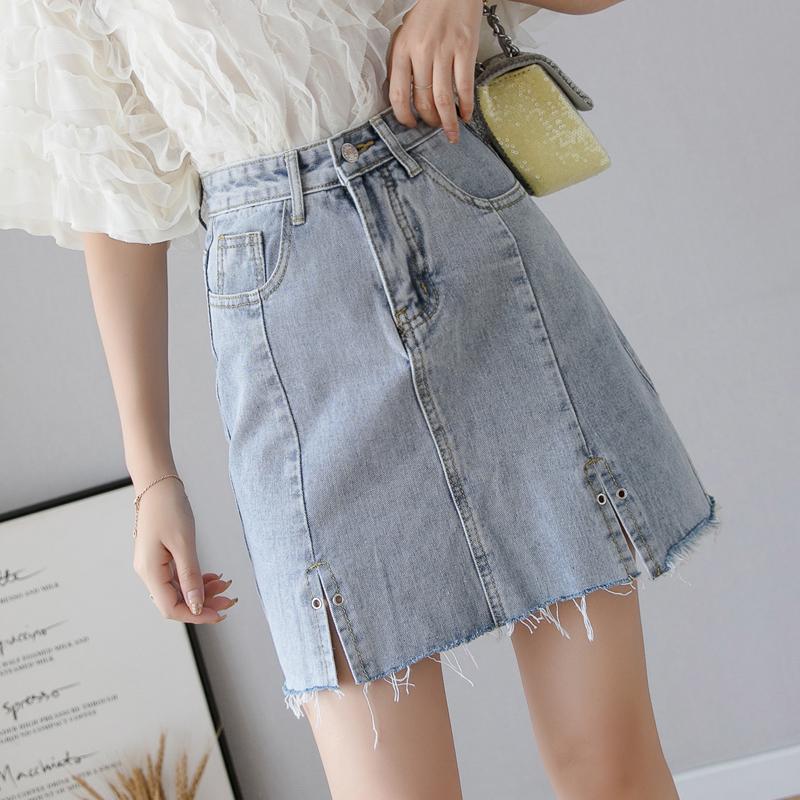 ins半身裙女夏季新款韓國高腰牛仔短裙修身包臀裙學生顯瘦a字裙潮