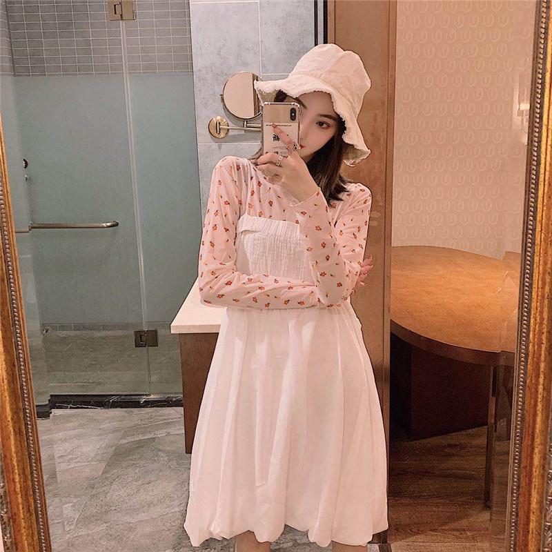 實拍實價 控價78 花朵日系網紗T恤+吊帶抹胸蓬蓬花苞連衣裙