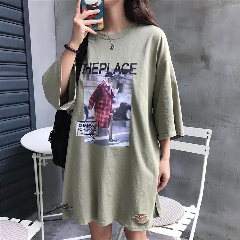 实拍2019夏款棉质不下架韩版破洞宽松短袖中长t恤女时尚体恤上衣