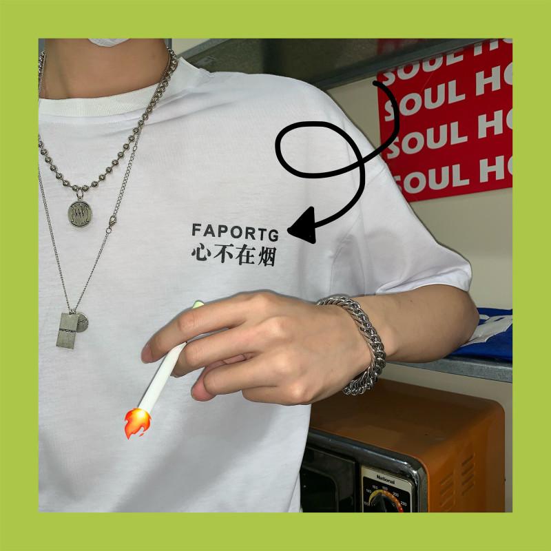 实价实拍 夏季韩版ins原宿风BF复古文字印花宽松短袖T恤男女上衣