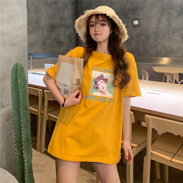 实拍韩版短袖T恤女中长款半袖上衣40s精棉拉架95棉5氨纶中长宽松