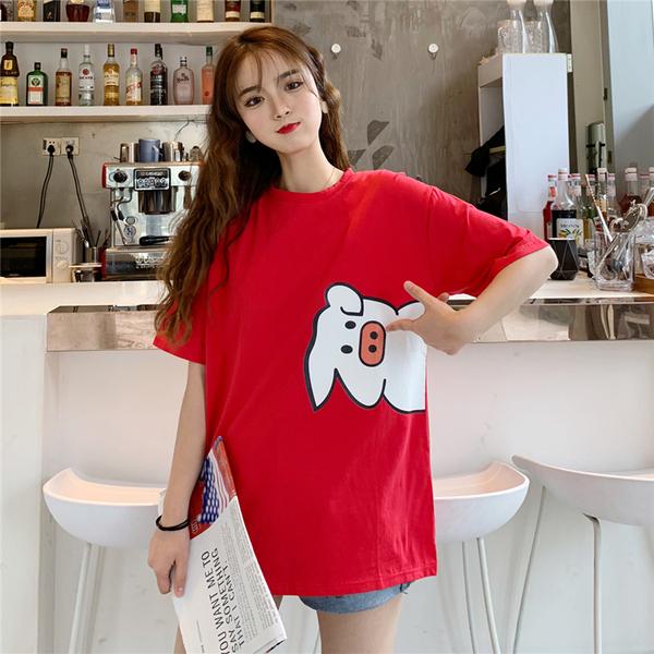 实拍 纯棉夏季情侣小猪短袖T恤半袖上衣40s精棉拉架中长宽松网红