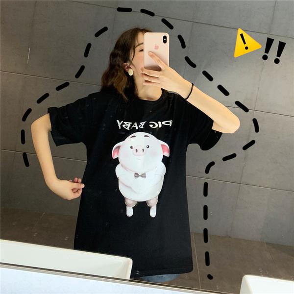 实拍 纯棉小猪韩版宽松短袖T恤女潮40s精棉拉架中长宽松学生上衣
