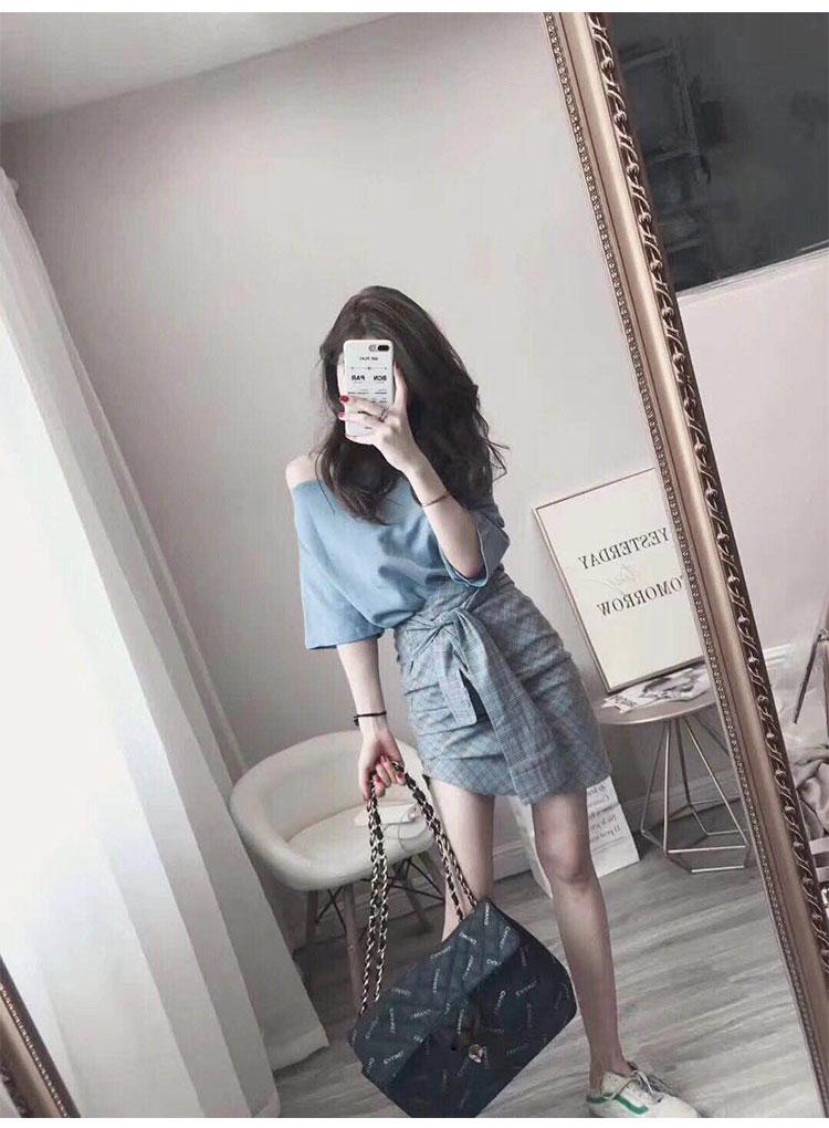 心機裙子設計感2019夏季新款氣質港味兩件套初戀復古一字肩連衣裙