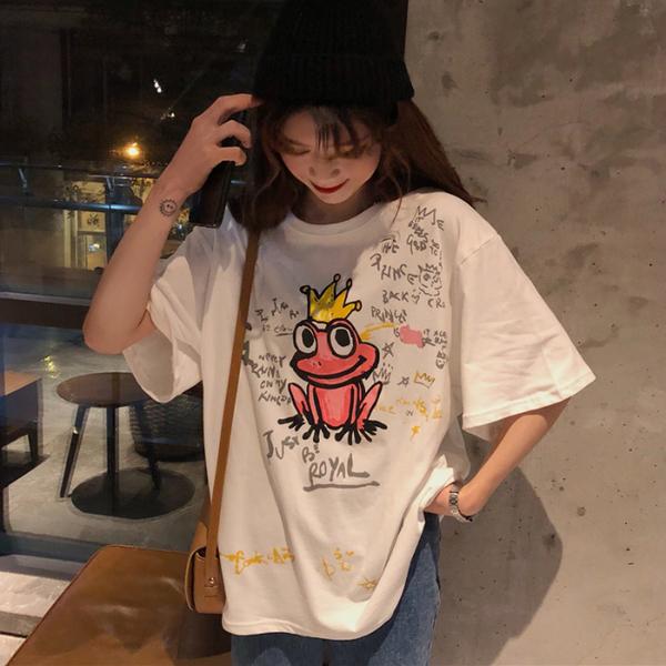 字母学生宽松短袖T恤女2019春夏网红白色圆领上衣打底衫