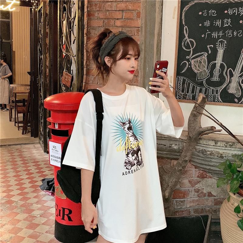 实拍2019学院风新款不下架不起球棉质韩版宽松短袖印花t恤女