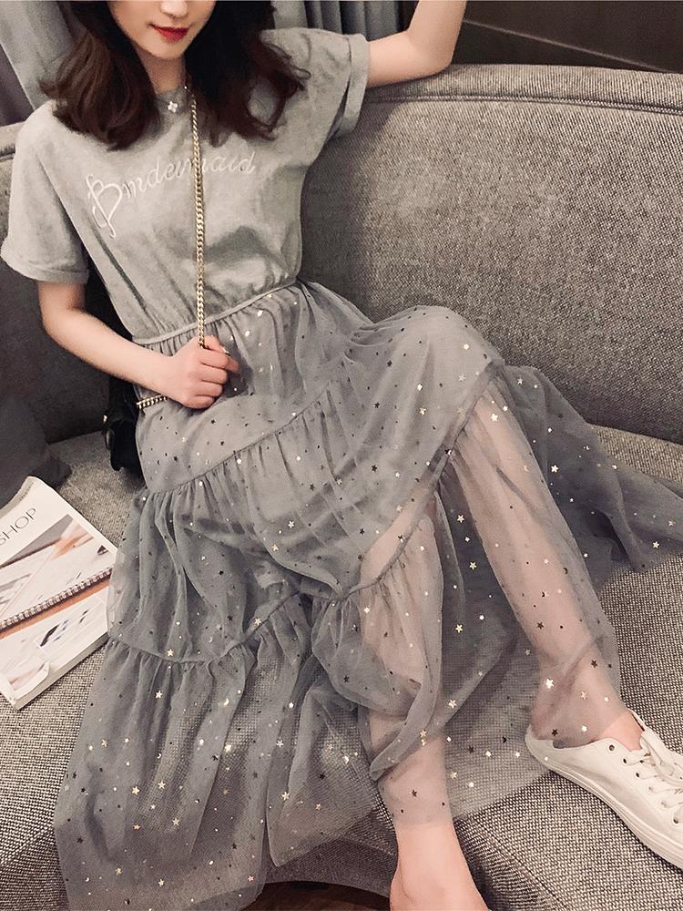 2019春季新款版中長款拼接亮片網紗短袖連衣裙女裝溫柔chic仙女裙