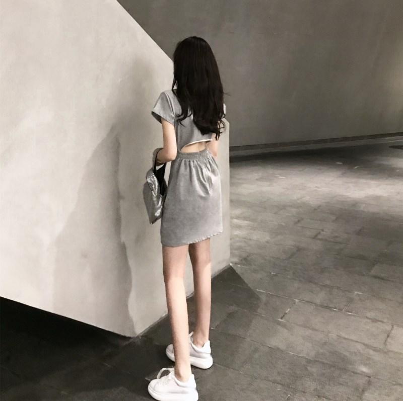 實拍實價 控價49 露腰連衣裙女2019夏季新款短袖露背裙子