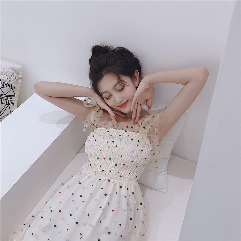 實拍實價 控價59 超仙甜美吊帶裙法式復古裙山本初戀連衣裙