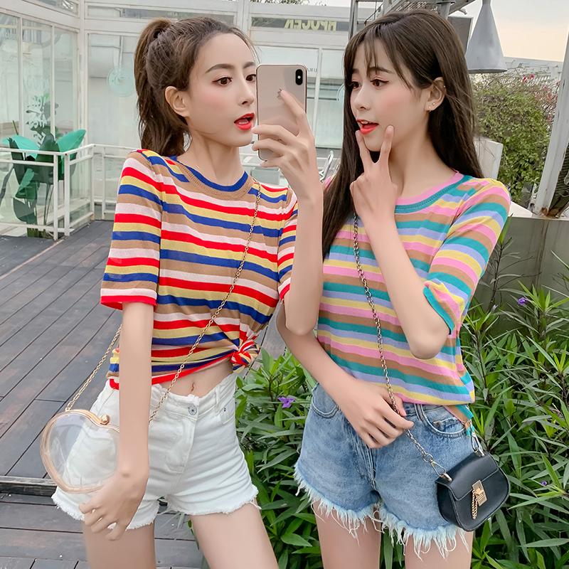針織衫短裙女閨蜜2019新款韓版寬松學生套頭上衣夏季冰絲顯瘦大碼