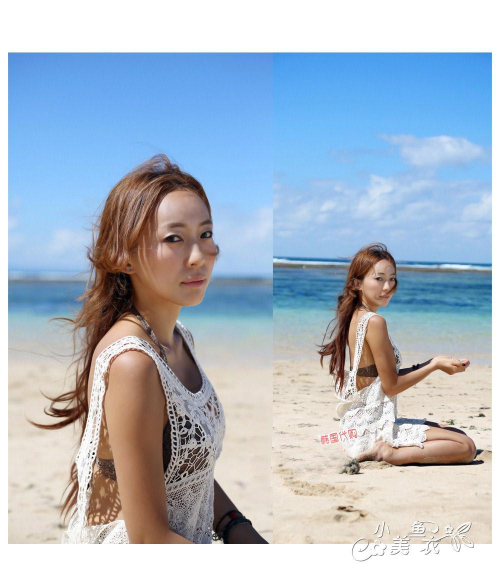 韩国比基尼蕾丝长罩衫渔网镂空钩花波西米亚沙滩连衣裙针织背心女