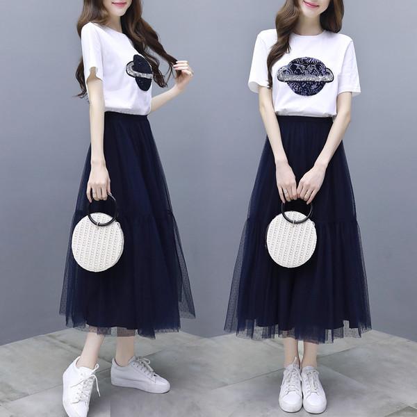 2019春夏装款女连衣裙夏流行裙子女装网纱a字裙套装短袖T两件套