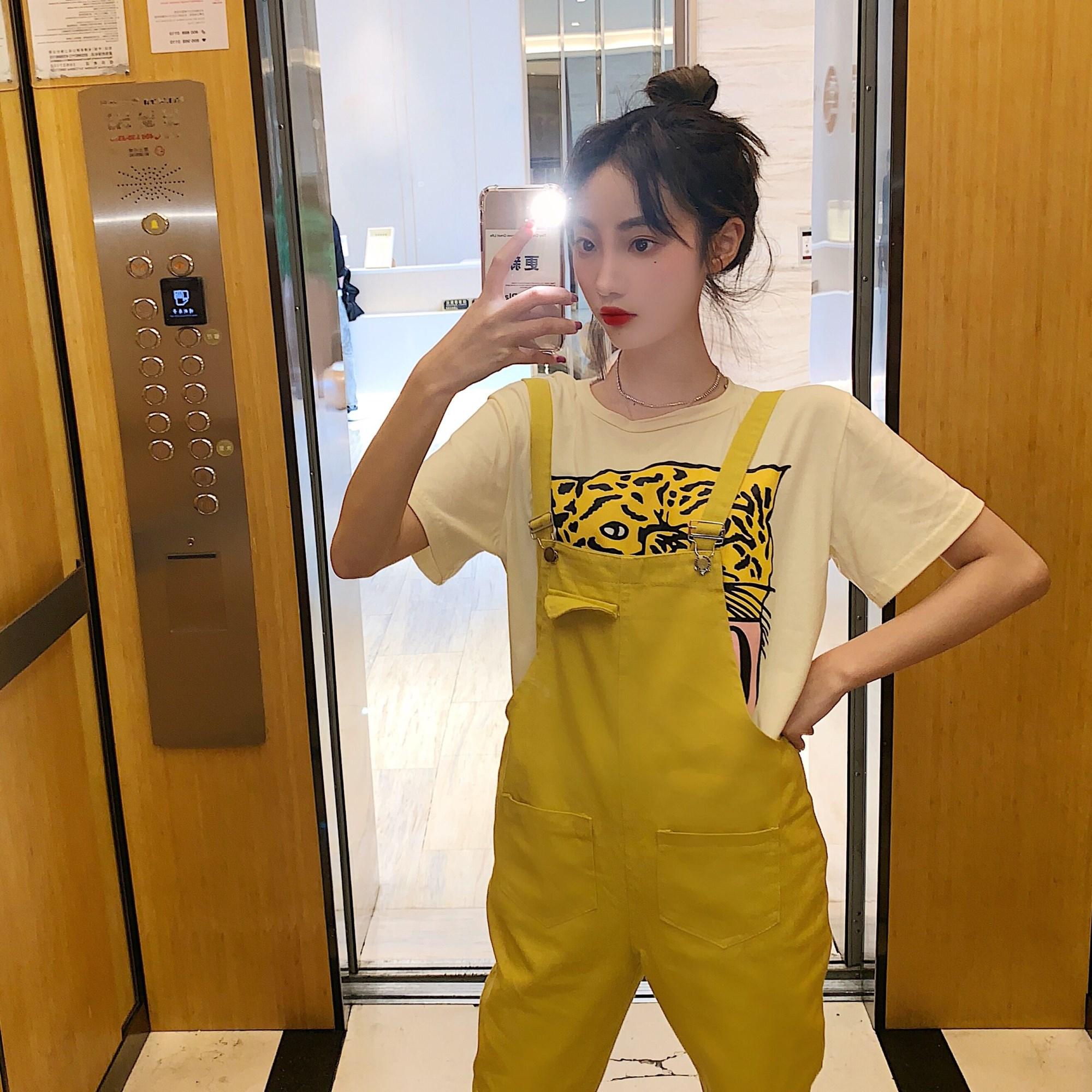 實拍實價 控價老虎印花短袖T+黃色工裝背帶褲