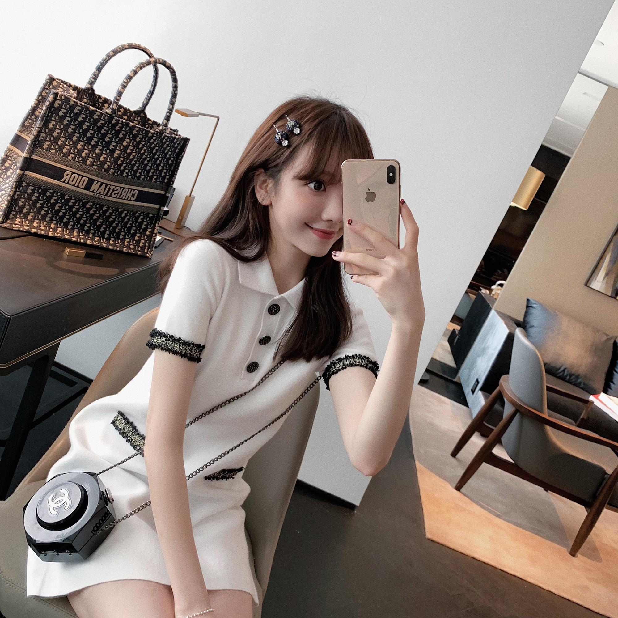 ZY喜哥 迟到的初恋裙 法式桔梗POLO领针织连衣裙