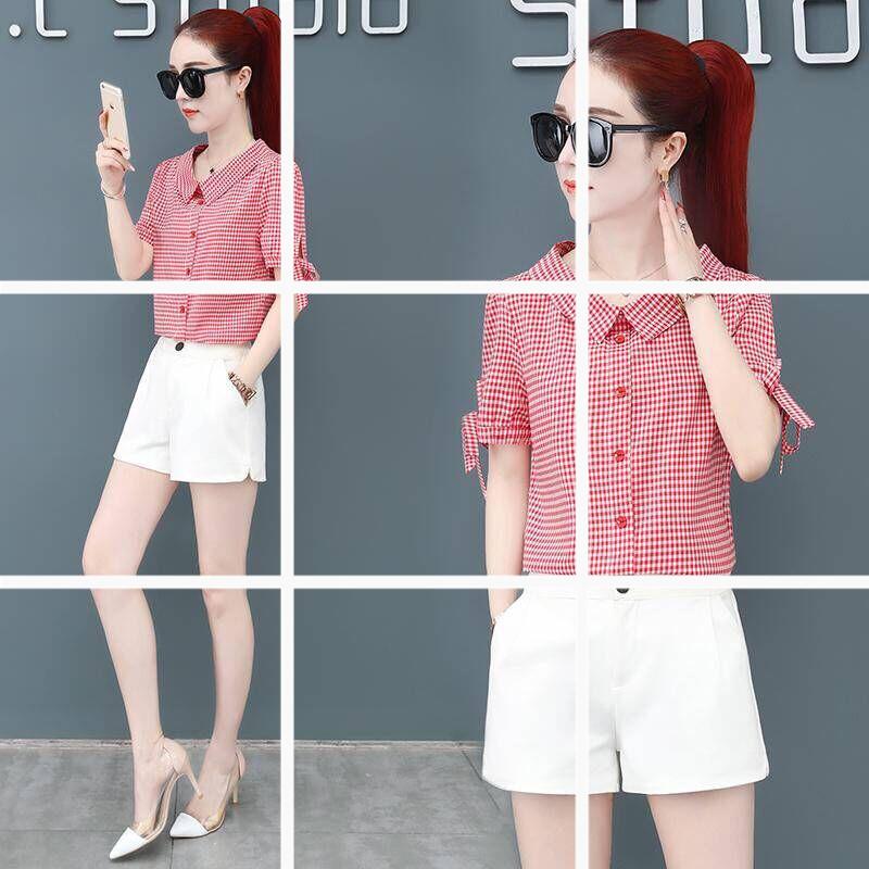 衬衫女夏装短袖2019新款韩版时尚宽松洋气上衣小衫夏天衬衣女装潮