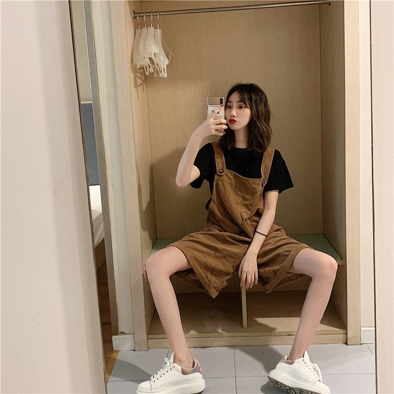 實拍實價 控價28-47 純色寬松T+寬松闊腿褲短款褲子減齡工裝褲