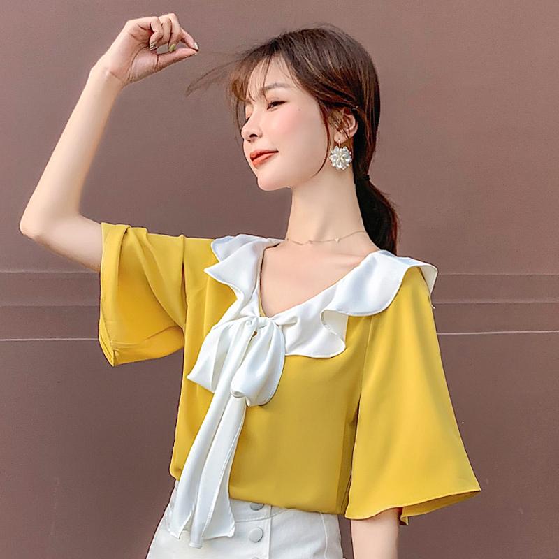 实拍小视频2019夏新款韩版雪纺衫木耳边娃娃领喇叭短袖上衣