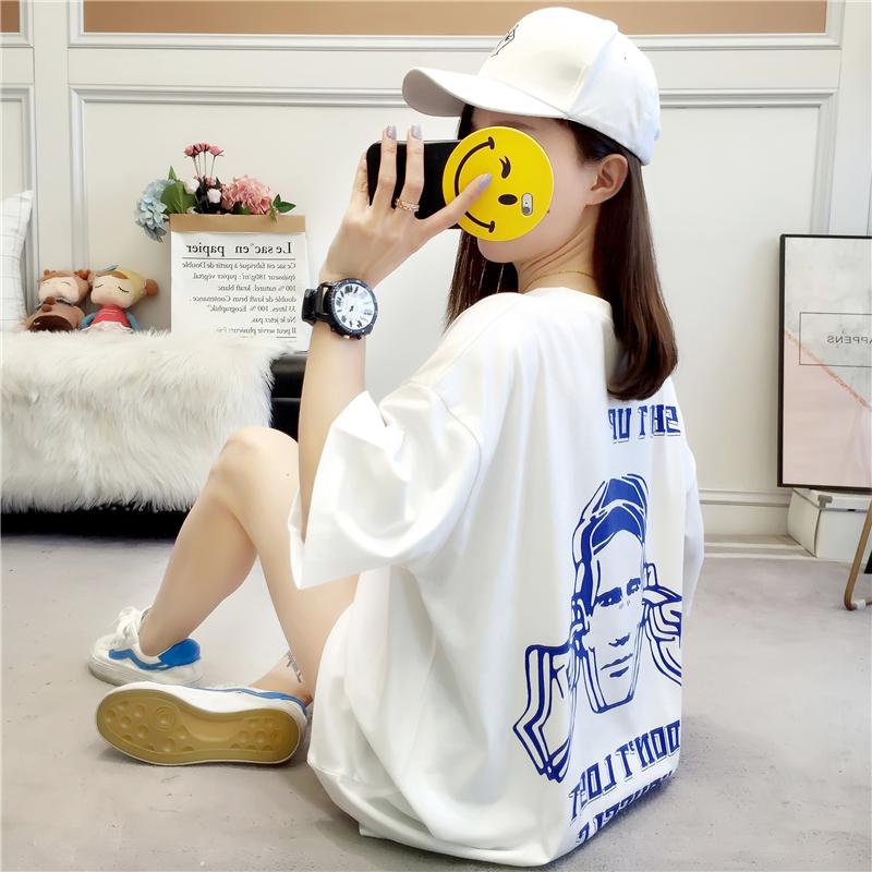 实拍2019夏款棉质不下架韩版宽松短袖中长t恤女印花体恤上衣