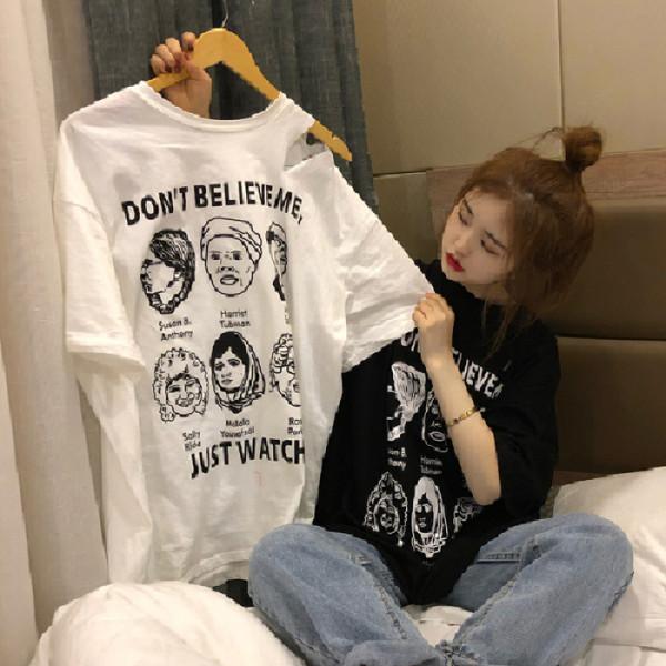 2019款春季韩版女装宽松显瘦人头印花破洞短袖T恤打底衫白色上衣