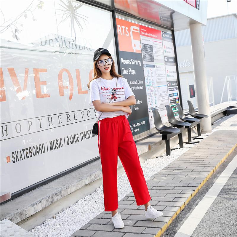 实拍夏季新款学生韩版宽松运动休闲百搭裤显瘦九分女长裤直筒裤
