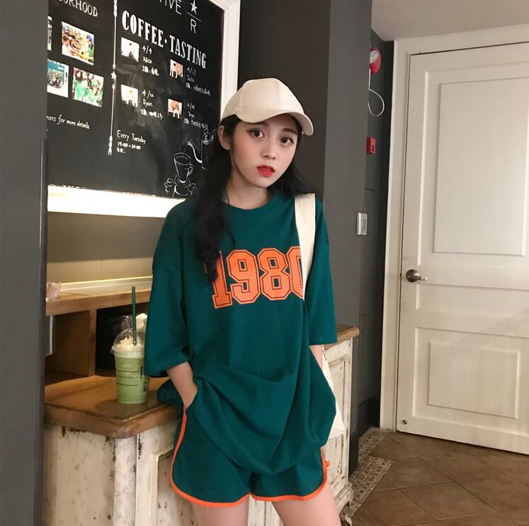 2019新款T恤夏季短袖针织衫毛衣连衣裙上衣+裤子套装休闲大码女装