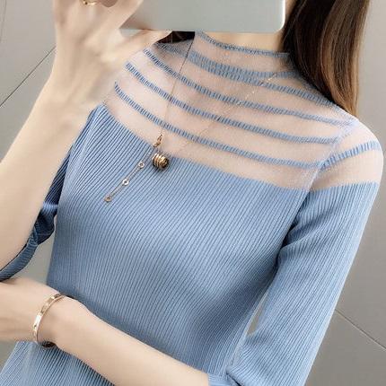 超火的cec冰丝针织打底衫2019春装新款蕾丝领半袖t恤衫女学生上衣