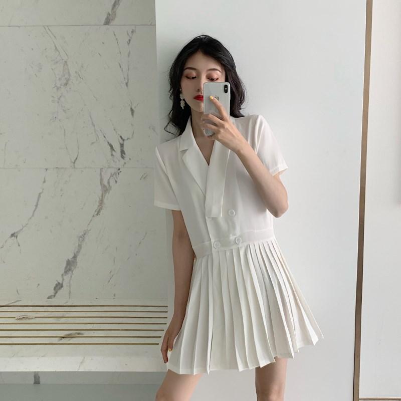 實拍實價 控價59 雙排扣小西裝百褶裙小短裙