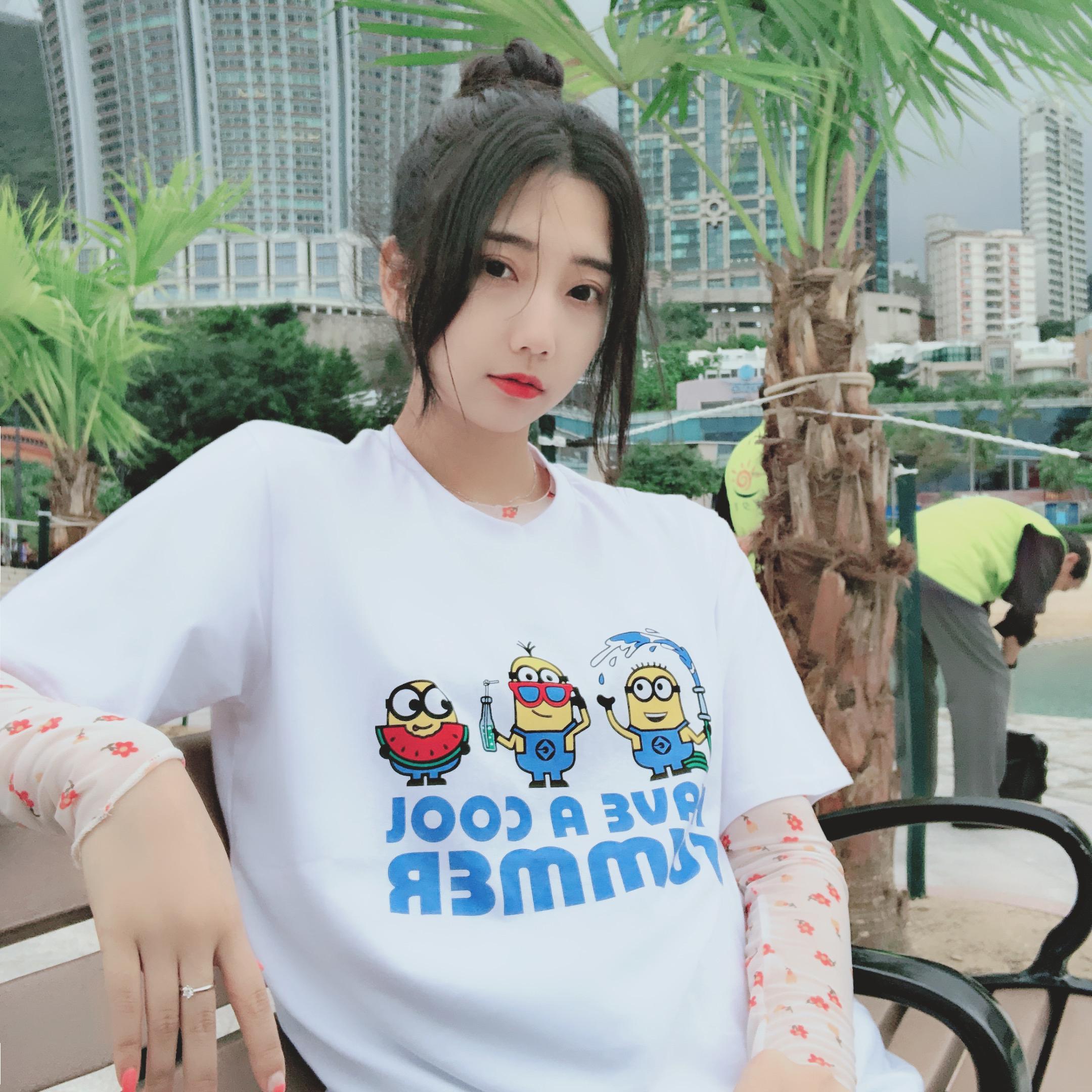 YYK情侣黄人联名刺绣西瓜冰棒短袖印花T恤男女同款