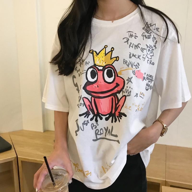 实拍2019夏款棉质不下架韩版宽松短袖青蛙王子t恤女时尚体恤上衣