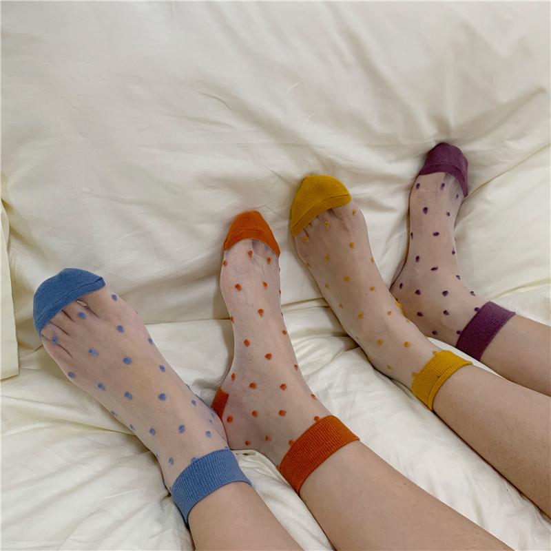实拍 现货!泫雅风可爱波点透明弹力网袜?#35759;?#34972;中筒袜 8色