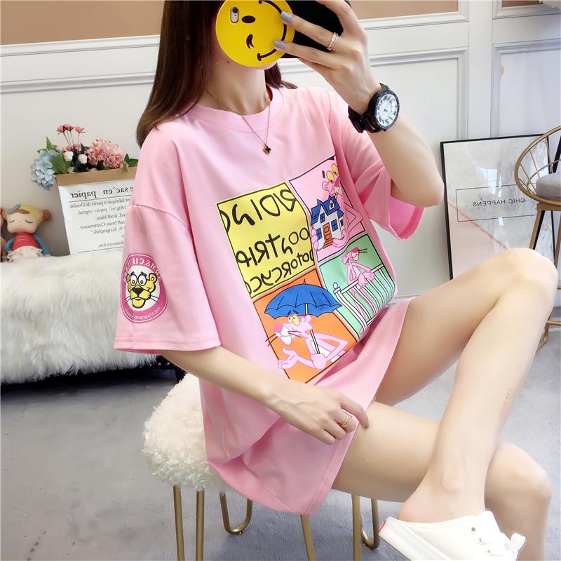 实拍2019夏款棉质不下架韩版宽松短袖中长t恤女拼色印花体恤