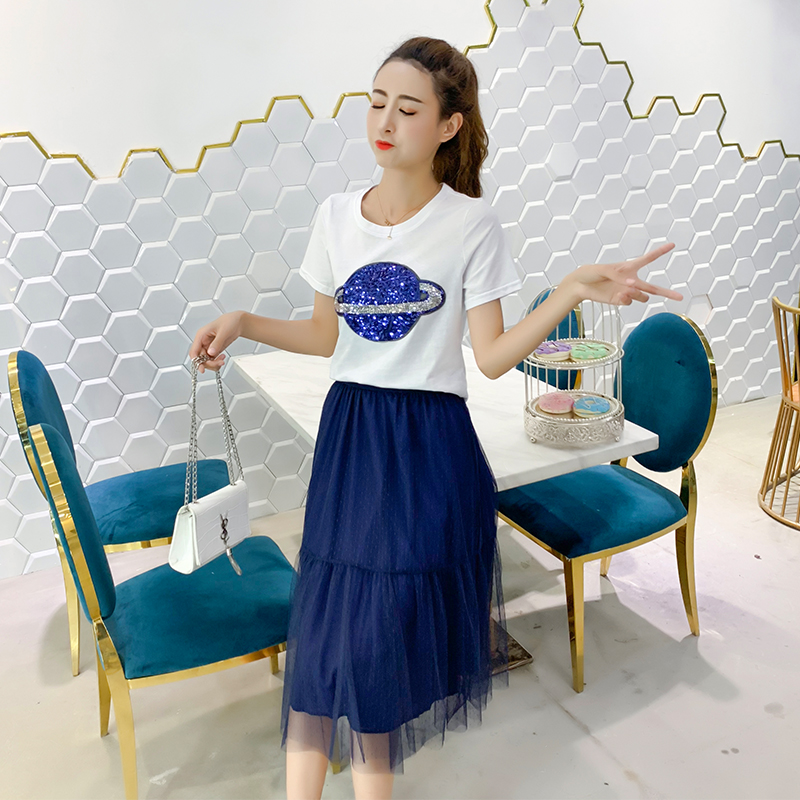 连衣裙两件套女2019春夏装新款亮片仙女网纱裙韩版显瘦高腰裙