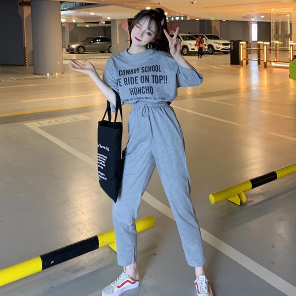 实拍 2019春夏字母印花短袖T恤+直筒九分裤休闲运动套装两件套