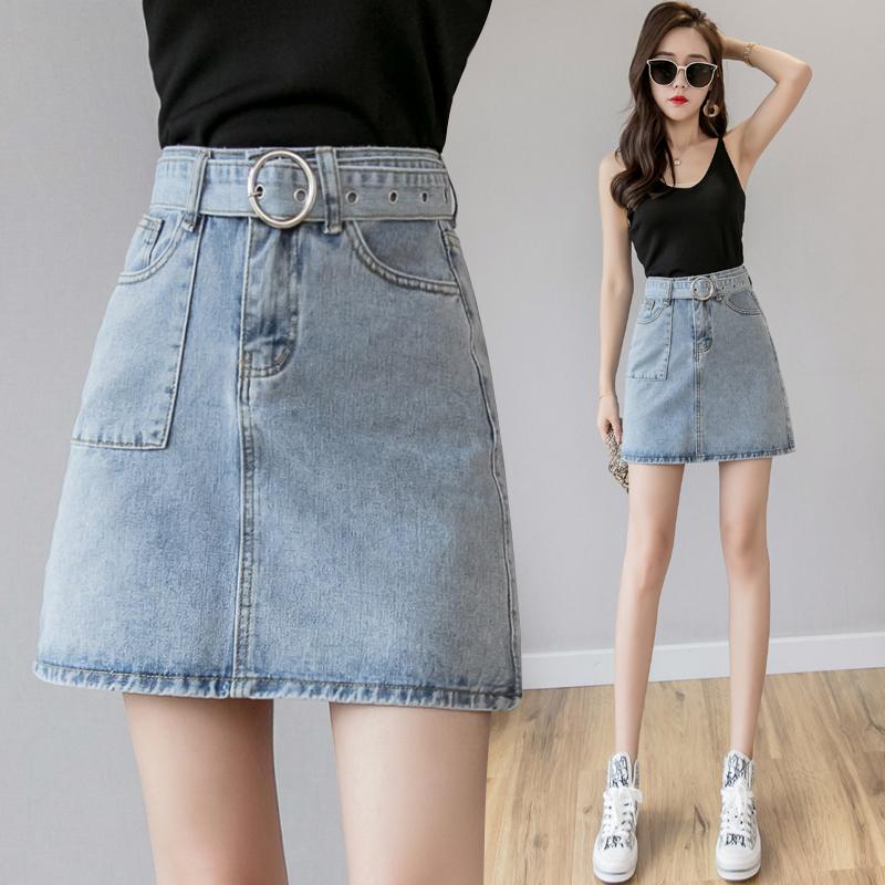 牛仔短裙高腰A字裙夏季2019韓國新款港味腰帶半身裙女包臀ins學生