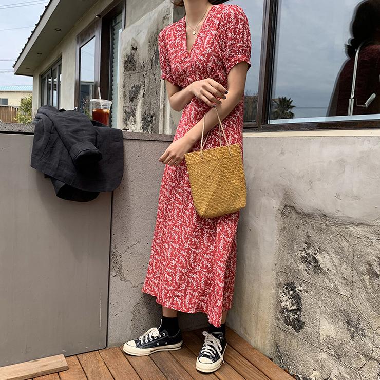 INS 显白~ V领 高腰线 修身 淑女麦穗 连衣裙长裙
