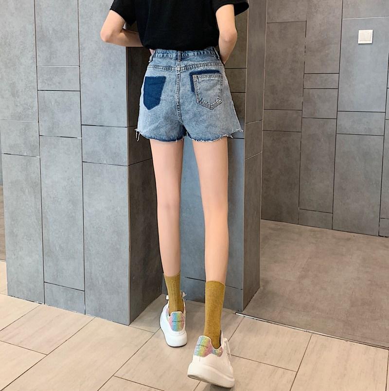 實拍實價 控價34 不規則腰頭設計背后撞色口袋牛仔短褲