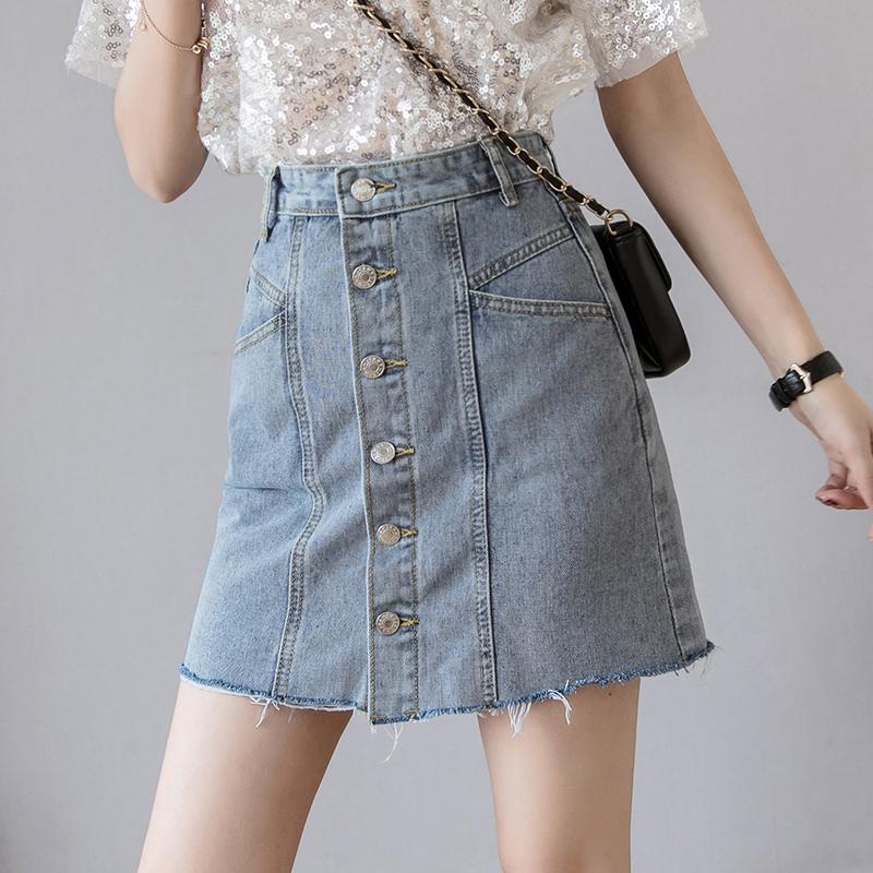 牛仔短裙高腰A字裙夏季2019韓國新款半身裙女ins學生港味單排扣潮