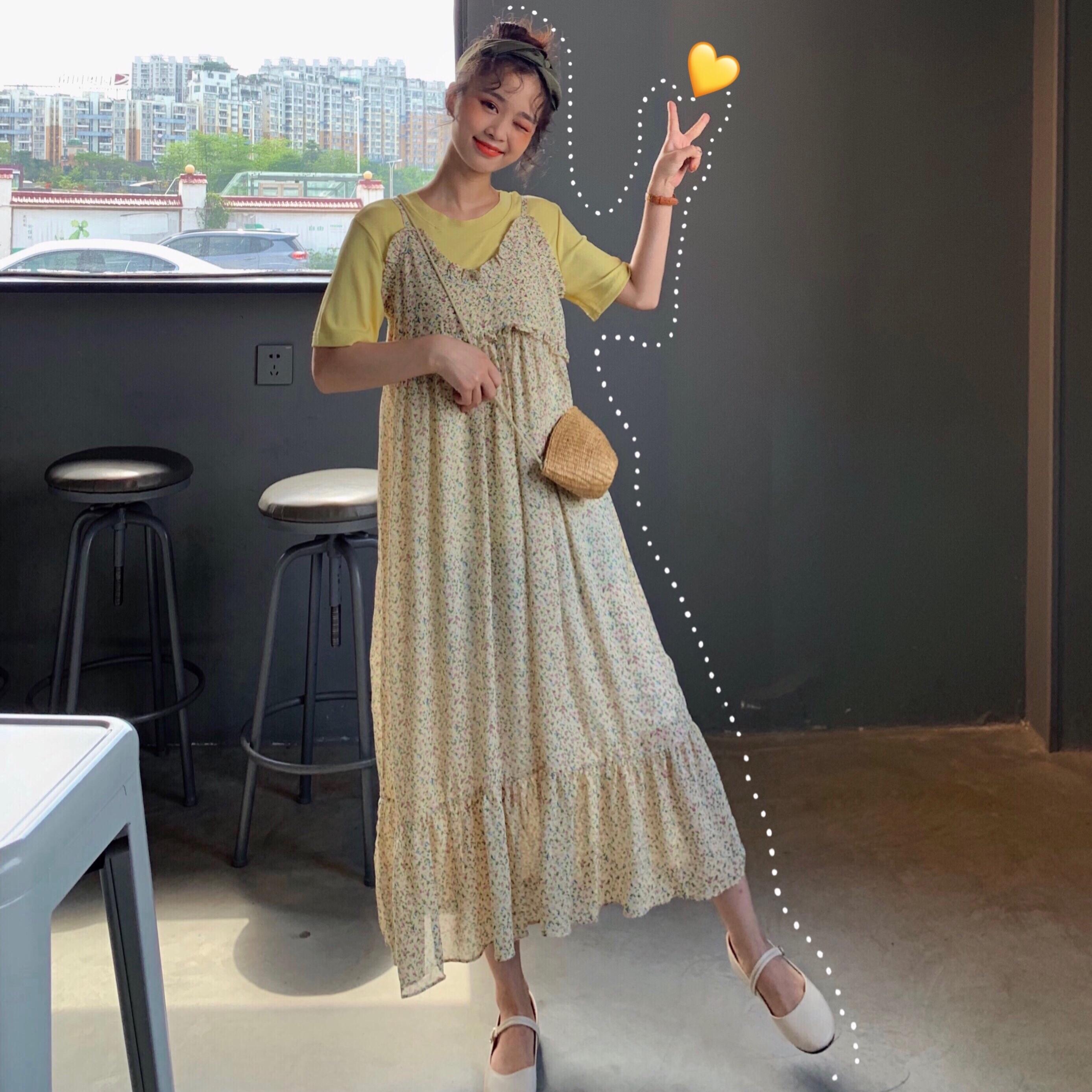 控價5實拍實價韓國夏季氣質碎花吊帶連衣裙+純色短袖兩件套裝女