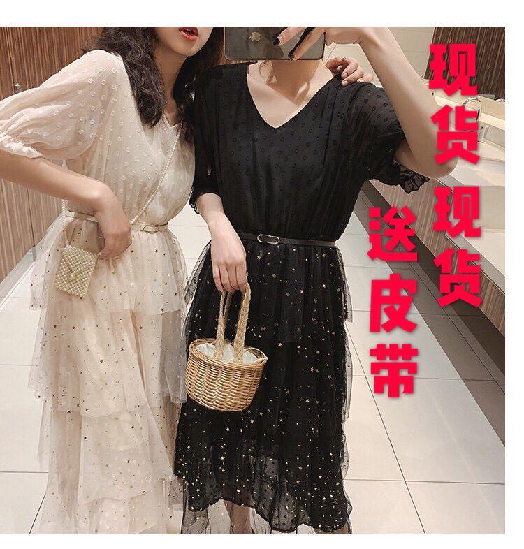 雪纺连衣裙女春夏2019新款韩版亮片网纱拼接仙女裙中长款蛋糕裙子