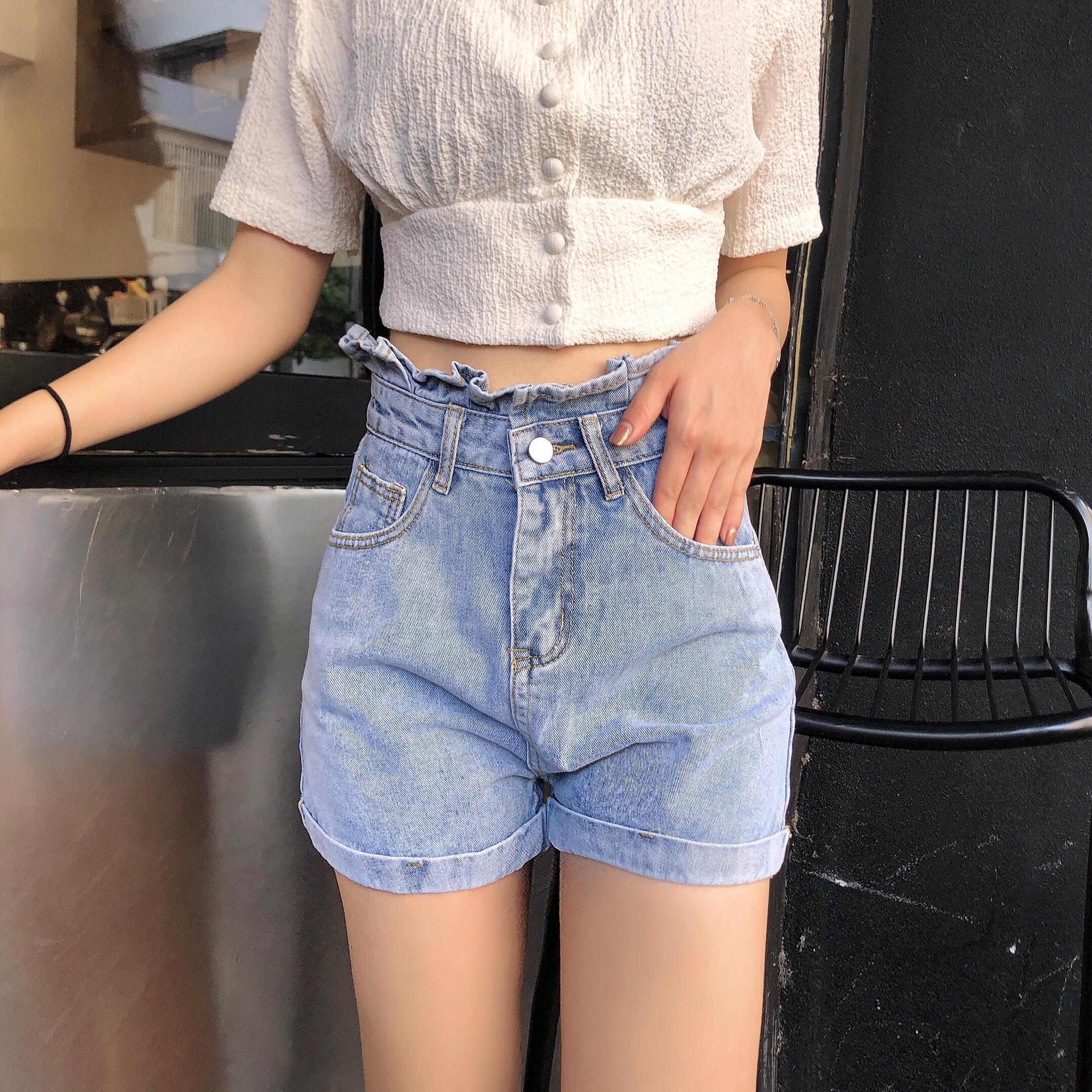 實拍破洞牛仔超短褲女高腰新款夏顯瘦寬松a字潮外穿闊腿熱褲韓版