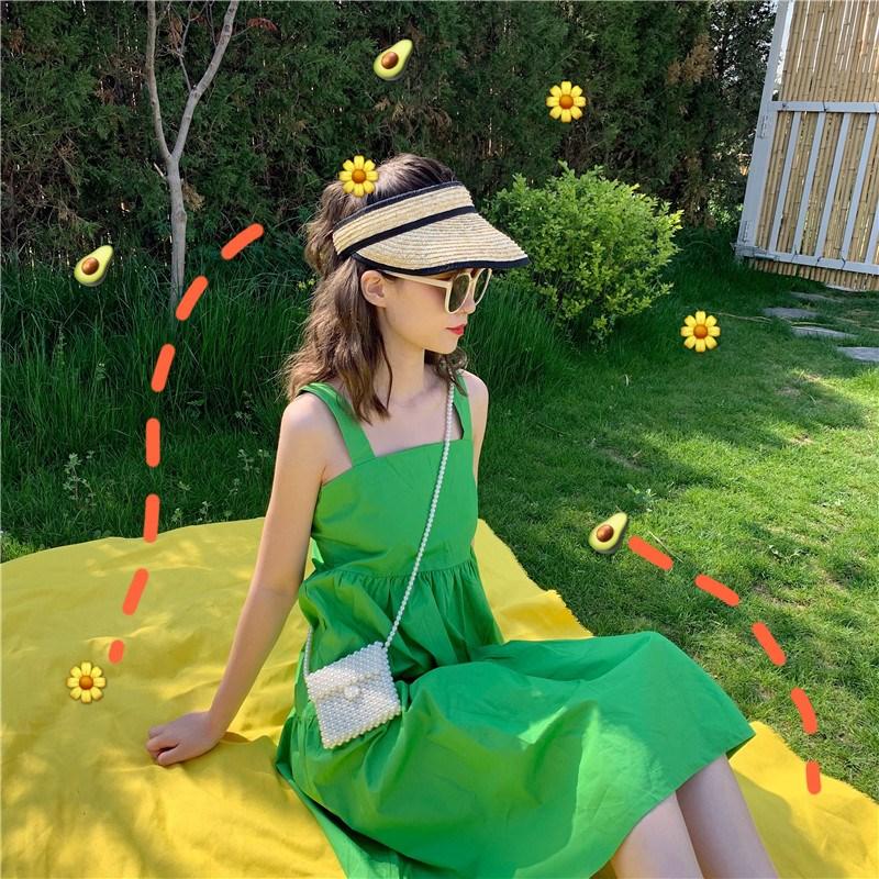 實拍實價 控價51-53 夏仙的法國小眾桔梗裙女閨蜜裝果綠色裙子