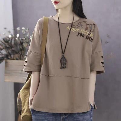 100%棉文艺夏季新款短袖T恤女宽松休闲五分袖大码百搭拼接上衣