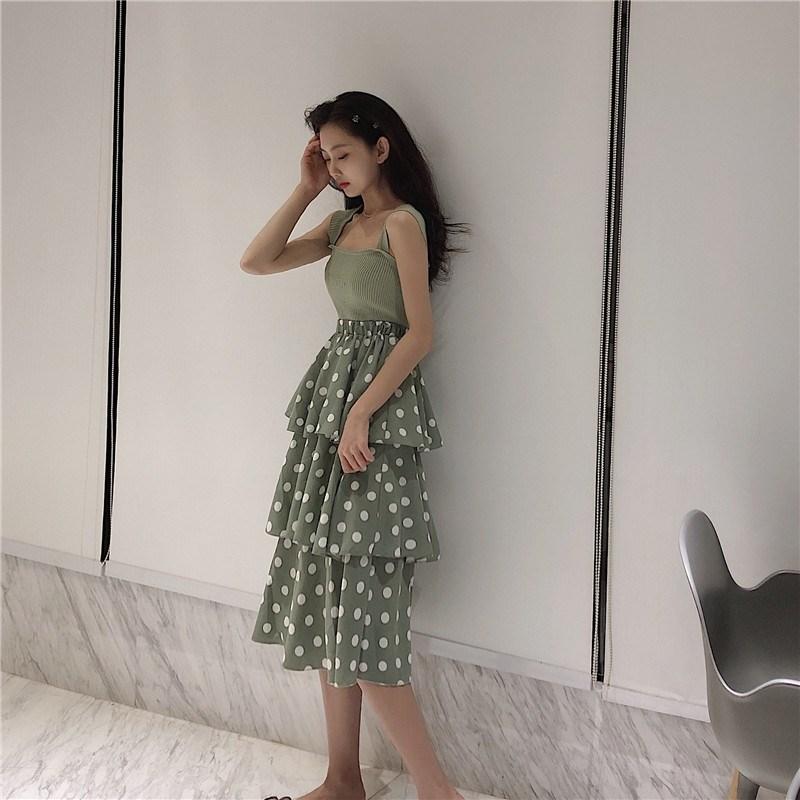 實拍實價 控價23-39 修身針織吊帶背心+高腰荷葉邊波點半身裙