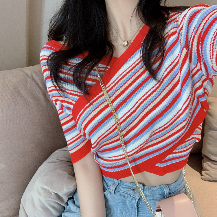 控价33 实拍实价夏季复古交叉不规则V领条纹短袖针织衫显瘦上衣女