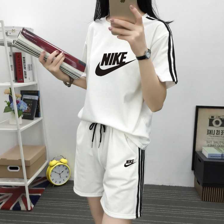 2019新款韓版個性耐克印花t恤短褲套裝女寬松bf風學生百搭