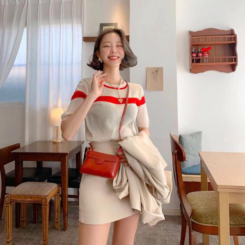 针织衫冰丝短袖T恤女夏装 惹眼配色上衣套头韩国显瘦休闲圆领条纹
