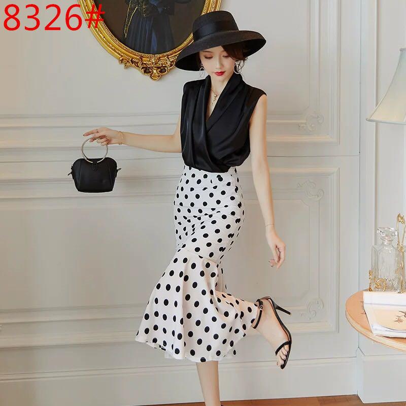 法国小众连衣裙2019新款夏法式复古裙两件套山本名媛气质洋气套装